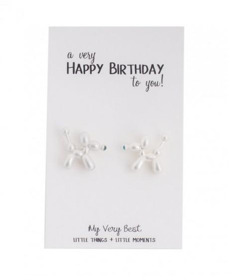 My Very Best Cute Balloon Dog Stud Earrings - white - CZ185GRI9N7