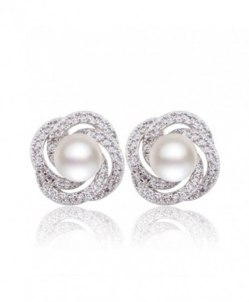 GULICX Silver Plated Base Simulated Pearl CZ Spiral Bridesmaid Pierced Stud Earrings Ivory Color Gift - C91253L7UIR