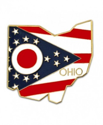 PinMart's State Shape of Ohio and Ohio Flag Lapel Pin - CR119PEKWF7