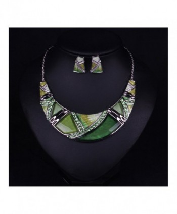 Hamer Women's Multi-color Statement Choker Necklace and Earrings Sets Vintage Jewelry for Women - Green - CH12E8H1MV3