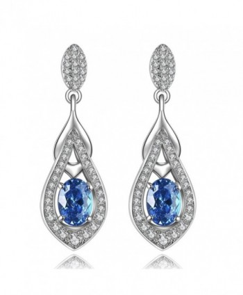 925 Sterling Silver CZ Teardrop Stud Dangle Earrings Made with Crystals - C0187URZ8L5