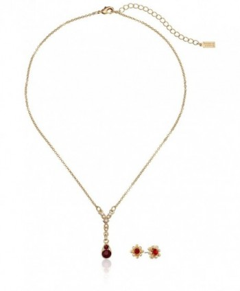 "Downton Abbey Boxed Gold-Tone Simulated Pearl and Red Crystal Necklace and Earrings Jewelry Set- 18"" - CE11NQEUDH9"