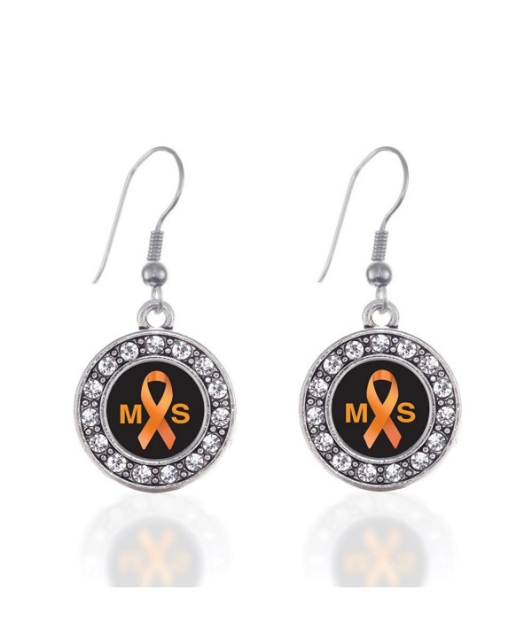Multiple Sclerosis Awareness Circle Charm Earrings French Hook Clear Crystal Rhinestones - CM124BUZ01P