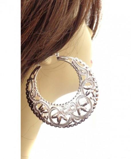 Large Hoop Earrings Filigree Puffed Hoop Earrings Gold or Silver Tone 3 Inch Hoops - C512CAKMCNV