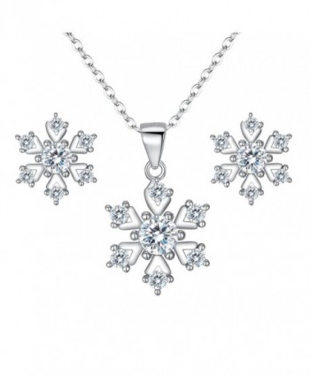 BriLove Women 925 Sterling Silver Cubic Zirconia Snowflake Shape Pendant Necklace Stud Earrings Set Clear - CY185A3H9MW