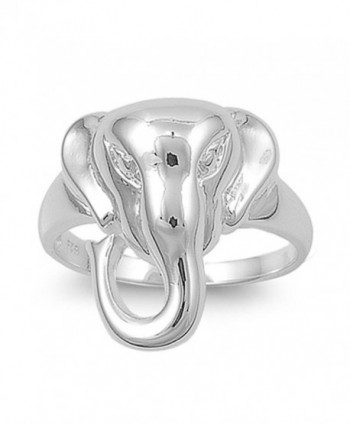 Sterling Silver Women's Elephant Fashion Ring Polished 925 Band 19mm Sizes 5-10 - CT11GQ40X21
