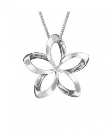 "Sterling Silver 19mm Open Plumeria Pendant Necklace- 16+2"" Extender - CR1146OKWO7"