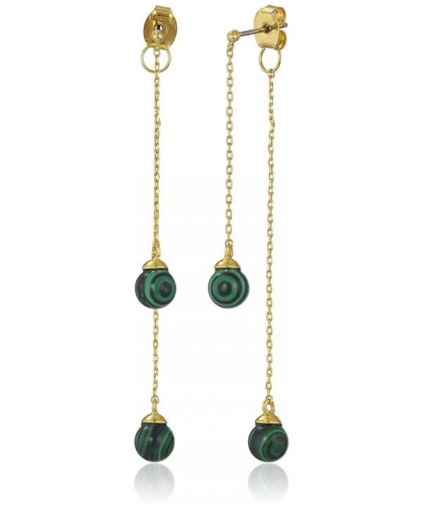 Noir Jewelry Semi Precious Sphere front-back Drop Earrings - C2127SL5DE3