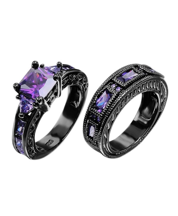 European Style Amethyst Two Pieces Promise Rings for Couples Black Gold Plated Women Sz-6 & Men Sz-7 - CD127AKLY67