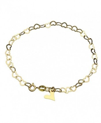 18k Gold-Flashed Sterling Silver Flat Heart Link Charm Anklet Italy Adjustable - C711JA780EN