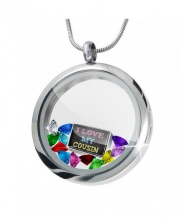 Floating Locket Set Chalkboard with I Love my Cousin + 12 Crystals + Charm- Neo - CY11I4QF01N