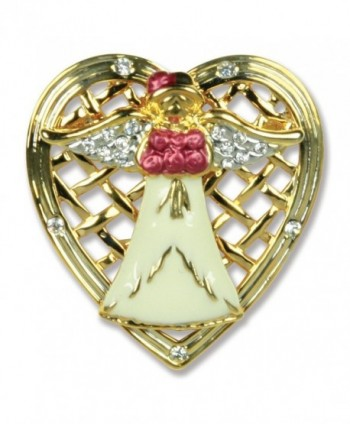Mom Angel Pin - Angel Holding Roses Framed with a Filigree Heart - Mother's Day Gift - CI115X9EM9P