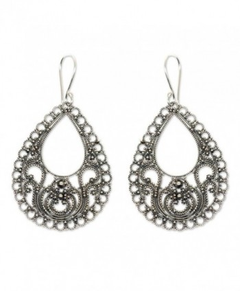 NOVICA .925 Sterling Silver Filigree Dangle Earrings- 'Bali Glam' - CW127QZQPYD