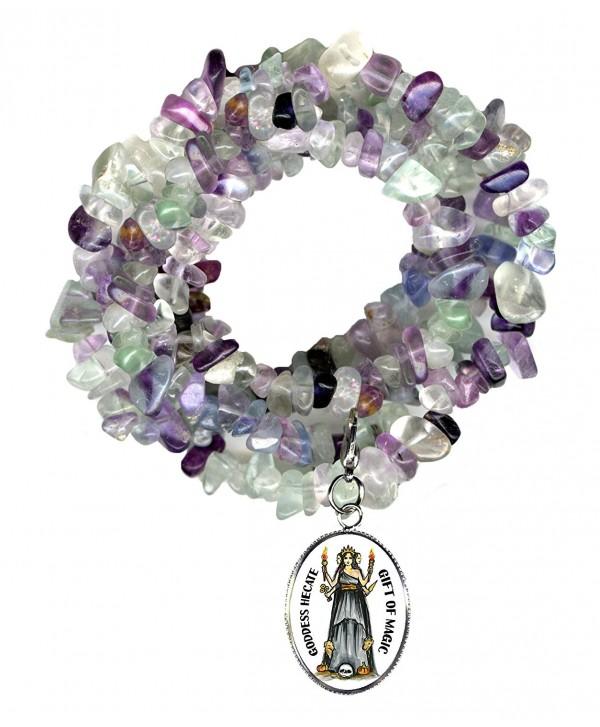 Goddess Hecate Gift of Magic & Miracles Charm Clip Fluorite Gem Wrap Bracelet or Necklace - C312C8NRK7J