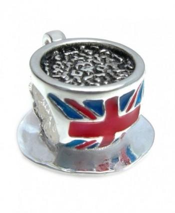 Sterling Silver British Tea Cup Flag Enamel European Style Bead Charm - CP11CH5OFVD