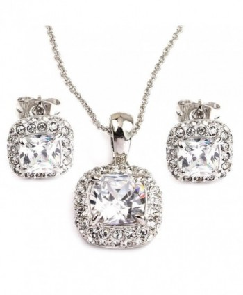 FC JORY White Gold GP Crystal CZ Square sets of jewelry earrings and necklaces - CU11JTMOXI7