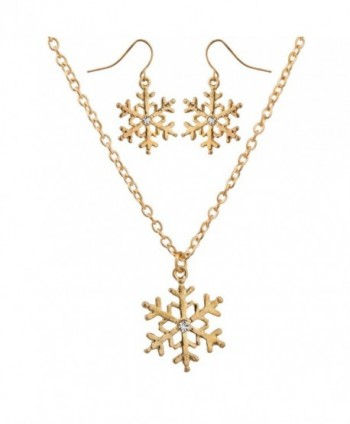 Lux Accessories Crystal Snowflake Christmas Winter Xmas Necklace Matching Earrings - CA129JUJCTX