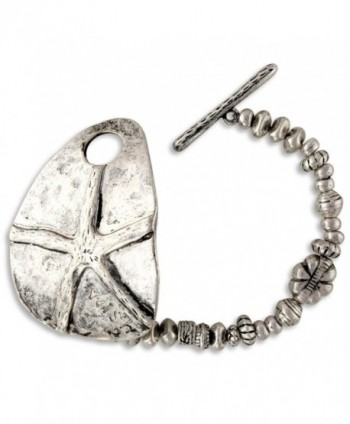 Antiqued Silver Tone Finish Ocean Starfish Wish Beaded Stretch Bracelet - CQ11PP7YIJT