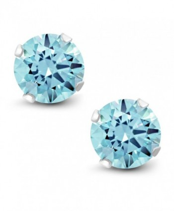 10K White Gold Stud Earrings Set with 6mm 2 cttw Set with Ice Blue Topaz from Swarovski - CP12OHUHG3P