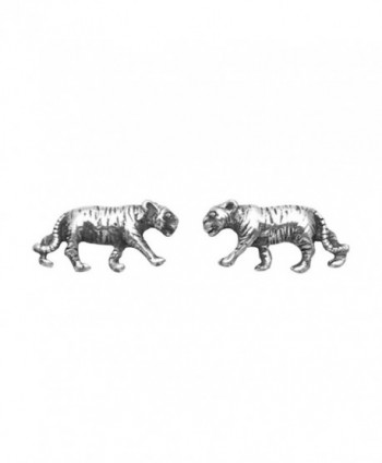 Small Sterling Silver Tiger Stud Earrings - C311GHQDKQJ
