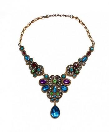 Doinshop Pendant Chain Women Statement Crystal Bib Beaded Collar Necklace Choker - CC120S0AMWD