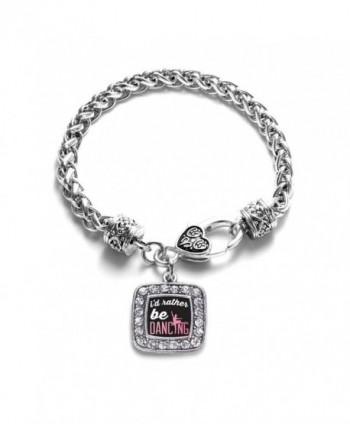 I'd Rather Be Dancing Classic Silver Plated Square Crystal Charm Bracelet - CP11U7O5DF3