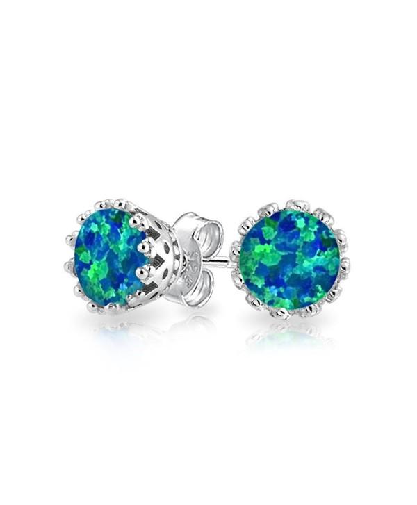 Bling Jewelry Oval Simulated Blue Opal Stud earrings 925 Sterling Silver 8mm - CH11PKHKLKJ