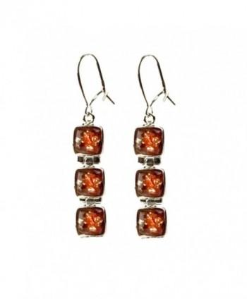 Amber Sterling Silver Square Earrings - CV113QYR83V