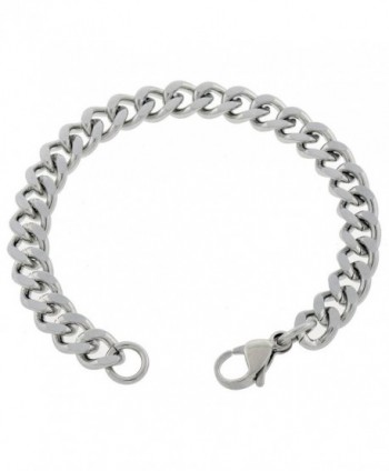 Women's 7mm Stainless Steel Curb Chain Anklet 7in to 14in - CW11XGEJNN9