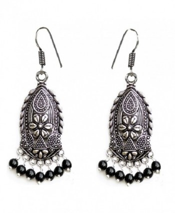 Sansar India Boho Black Beads Ethnic Danglers Drop Jhumki Indian Earrings Jewelry for Girls and Women - C312MAYK581