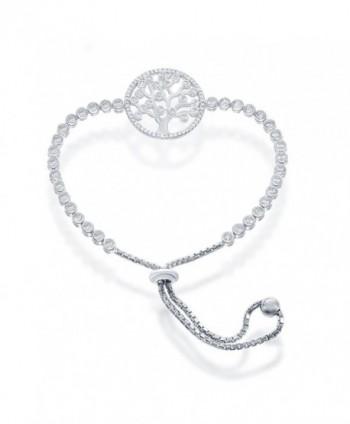 Sterling Silver CZ Tree of Life Circle Adjustable Bolo Bracelet - Sterling Silver - CN12LWWKSL7