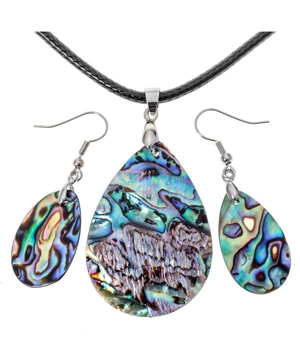Angel Jewelry Women's Sea Abalone Shell Necklace Pendant Earrings - CF182OEDZYM
