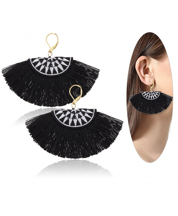 Eternity J. Women Ethnic Bohemian Embroidery Wool Tassel Drop Dangle Earrings Eardrop - Black - CA182H6M9TE