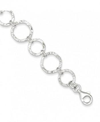 Sterling Silver Polished Hammered Open Circle Linkn Fancy 14mm Modern Bracelet Length 7.5 Inch - CD12J35QH7J