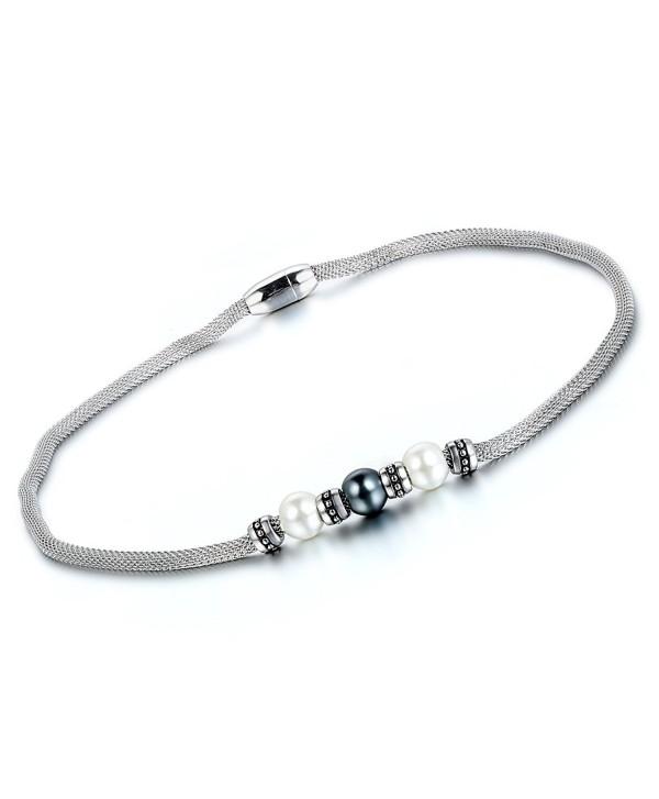 Flongo Women's Ladies Vintage Stainless Steel Flower Starter Beads Charm Mesh Chain Bracelet - necklace - C7127PF5L5D