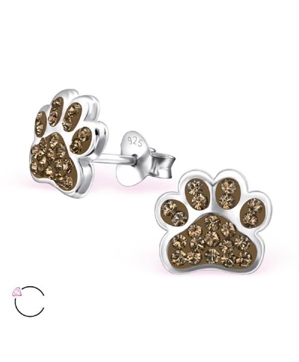 925 Sterling Silver Smoky Quarts Swarovski Crystal Paw Print Stud Earrings 24689 - C112DG31G2F
