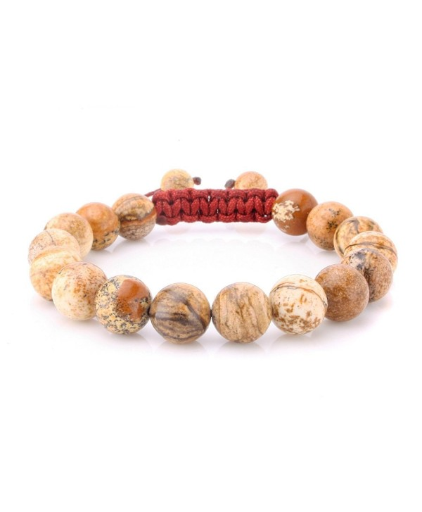 JewelrieShop Adjustable Synthetic Birthstones Bracelets - 10mm Synthetic Picture Jasper - CM11HFWCMS1