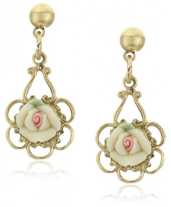 1928 Jewelry Porcelain Rose Drop Earrings - IVORY - C3128X3QWJP