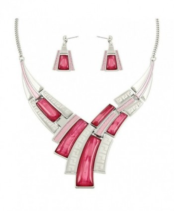 Falari Elegant Acrylic Resin High Polished Jewelry Set - Pink - CN12DJSWWWZ