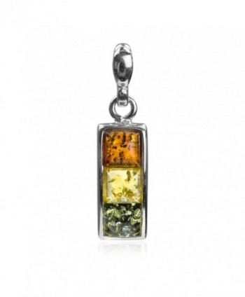 Sterling Silver Multicolor Amber Square Pendant - CL127XYO6AB