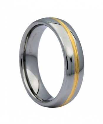 MJ 6mm Gold Plated Center Groove Ring Tungsten Carbide High Polished Band - C511SEFW89B