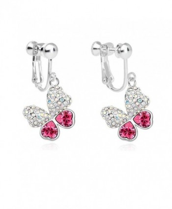 Latigerf Women Butterfly Screw Back Clip on Earring Non-Pierced Swarovski Elements Crystal Red - CN12FOEWBD7