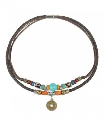 Ancient Tribe Women's Hemp Genuine Leather Turquoise Bead Choker Necklace-15 Inches - Brown - CE12G7WM8LF