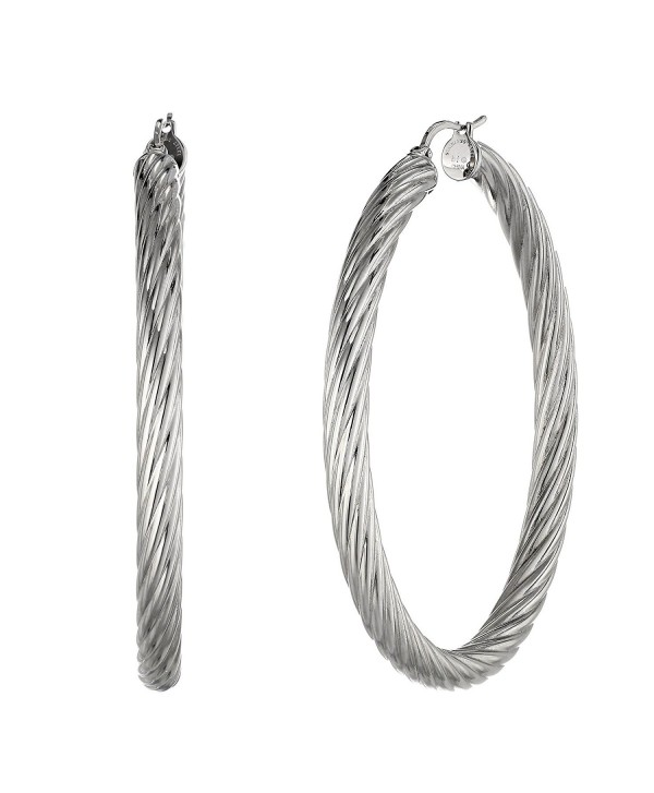 Metro Jewelry Twisted Stainless Steel Fashion Hoop 50MM Earrings - C112GH62MFN
