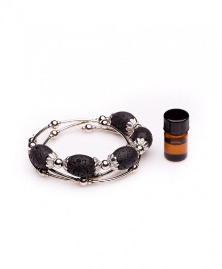 Essential Oil Diffuser Bracelet - Aromatherapy Jewelry - Lava Rock Five Stone Wrap Bracelet - CR17XMRWO28