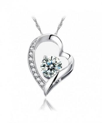 "INMIX ""My Heart Will Go On""14k Gold Plated Pendant Necklace with Cubic Zirconia Jewelry - CM1804484A5"