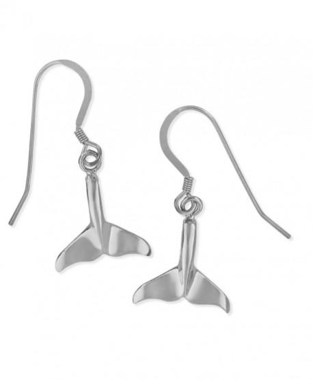 Sterling Silver Whale Tail Dangling Earrings - C8118B8IE03