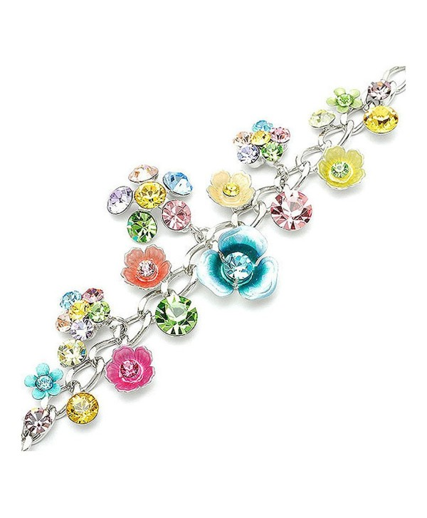 Flower Bracelet With Multi Colour Austrian Element Crystals And Charms 1127 Cg118socgvn