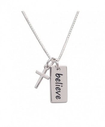 "Girls Sterling Silver ""Believe"" Pendant with Charm for Children- Teen- and Women - CD1876QO7I6"