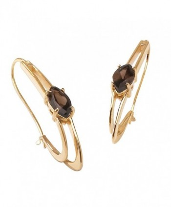 Marquise-Cut Genuine Smoky Quartz 14k Gold-Plated Oblong Double Hoop Earrings (54mm) - C312FMWYR1P